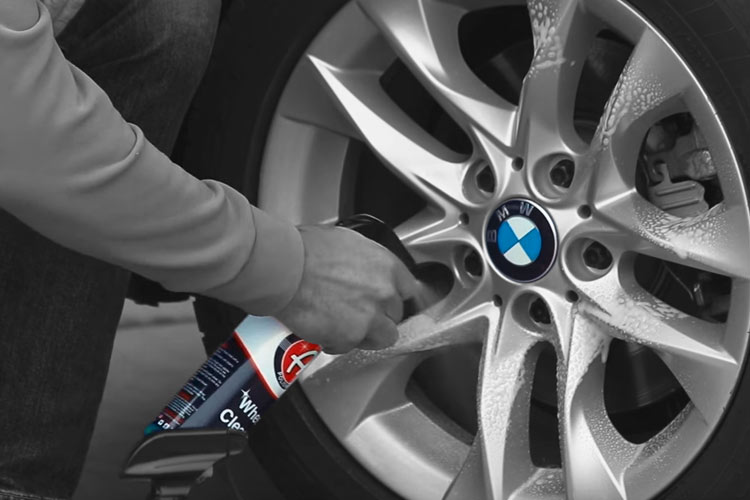 Adams Polishes showcases their Wheel Cleaner on a BMW Wheel