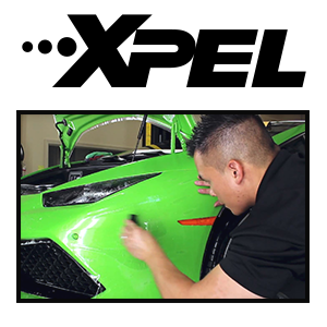 Guy working Xpel Clear Mask on a Lamborghini Huracan
